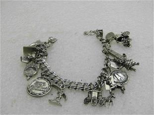 "Vintage Sterling Silver Charm Bracelet, 7"", 12 Charms,"