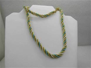 Vintage Carved Floral Tassel Necklace, 2.2mm Beaded,
