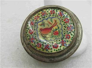 Vintage Mother-of-Pearl Painted Trinket Box, Silver