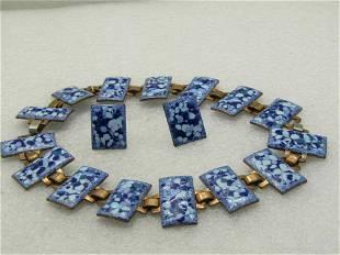 Vintage Blue Enameled Bracelet/Necklace & Screw Back