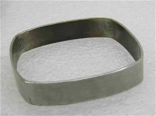 """Vintage Brushed 7"""" square Bangle Bracelet, 13mm"""