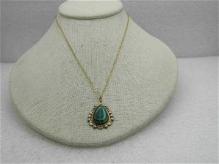 """Vintage 12kt G.F. Simulated Malachite Necklace, 18"""""""