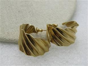 Vintage Stud & Hoop Dangle Pierced Earrings, Bamboo