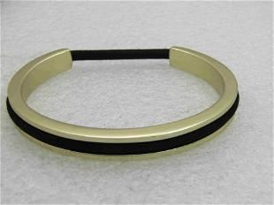 Gold Tone Cuff Bracelet with Scrunchie Insert, Signed