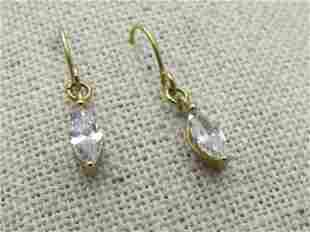 Vintage 10kt G.F. Marquise CZ Earrings, Pierced,