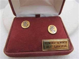 Vintage Reed & Barton July Larkspur Earrings, Pierced