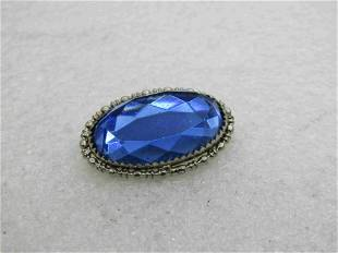 "Vintage 10kt Plated Blue Rhinestone Brooch, C-Clasp, 1"""