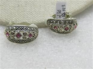 SIlver Tone Pink Clear Rhinestone Earrings, Clip.