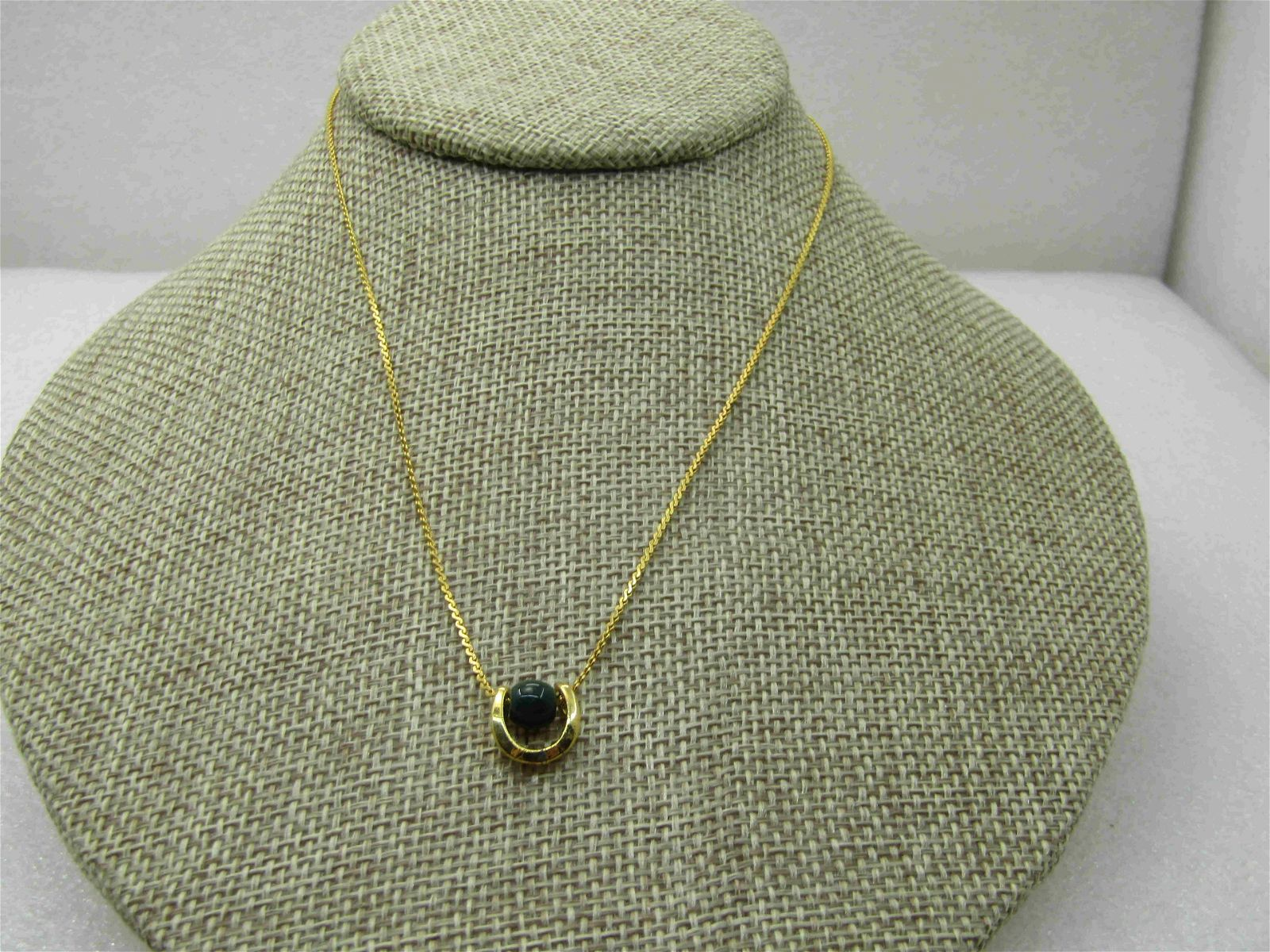 """Vintage Green Beaded Pendant Necklace, 15"""", Gold Tone,"""