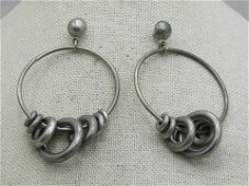 Vintage Large Hoop Earrings with Sliding Rings on Hoop,