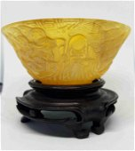 Chinese Horn handcarved scholar Bowl