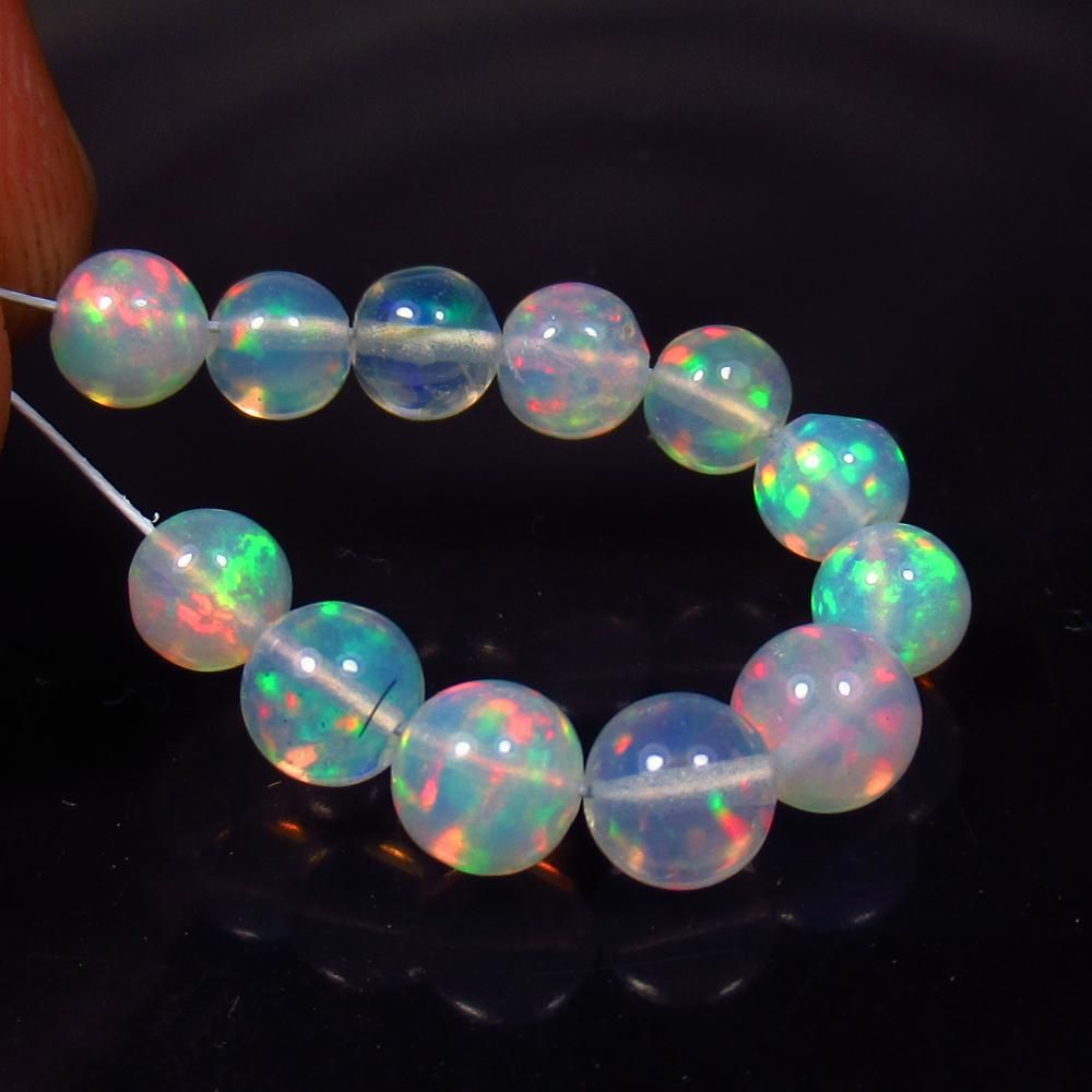 5.43 Ct Natural 12 Multi-Color Fire Opal Ball Beads