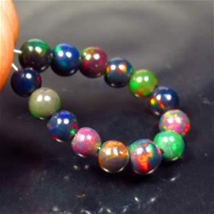 4.74 Ctw Natural 14 Drilled Black Fire Opal Ball Beads
