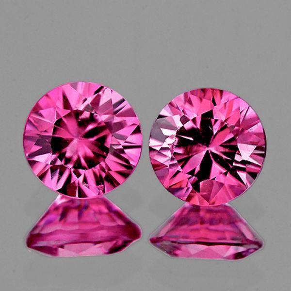 3.60 mm Round 2pcs Natural Intense Hot Pink Sapphire