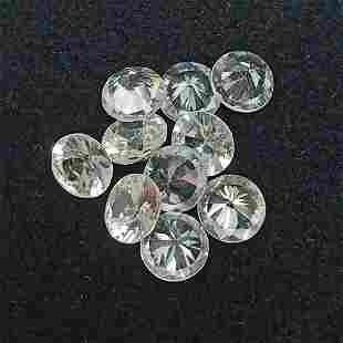 10 PCS 7.00 CTS ROUND NATURAL WHITE ZIRCON GOOD LUSTER