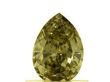 GIA DIAMOND .66 PEAR SHAPE FANCY DEEP GREEN YELLOW VVS1