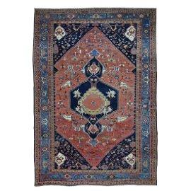 Red Antique Persian Bakshaish Good Condition Clean Pure