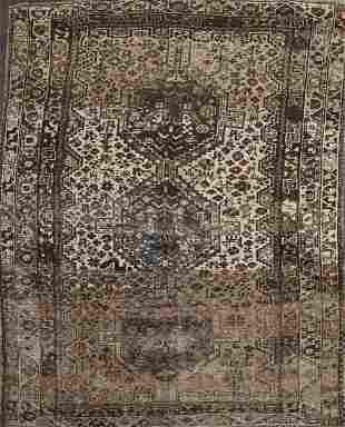 Pre-1900 Vintage Shiraz Persian Square Rug 6x6