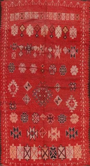 Vintage Moroccan Wool Rug 5x10