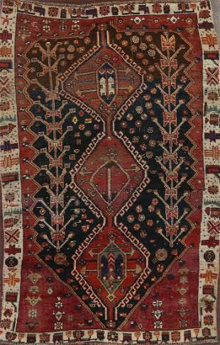 Vintage Shiraz Persian Area Rug 5x7