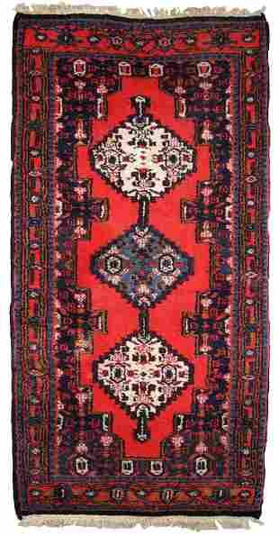 Handmade vintage Persian Hamadan rug 2.2' x 4.5' (69cm