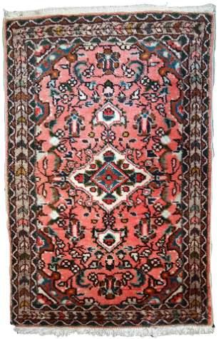Handmade vintage Persian Lilihan rug 1.9' x 3' (59cm x