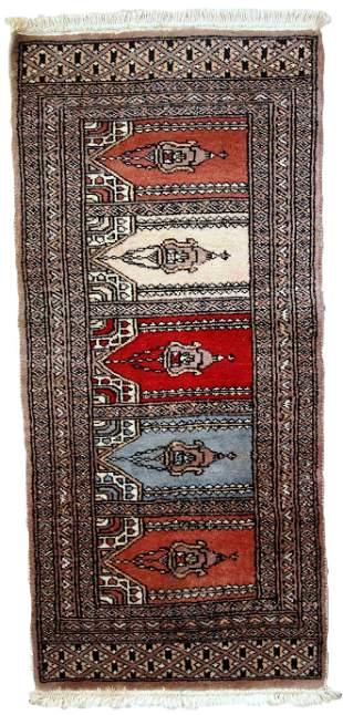 Handmade vintage Uzbek Bukhara prayer rug 1.5' x 3.3'