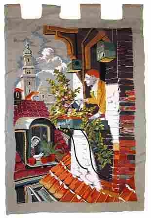 Handmade vintage European tapestry 2.1' x 3' (65cm x