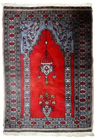 Handmade vintage Uzbek Bukhara prayer rug 2.5' x 3.7'