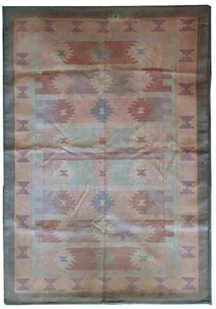 Handmade vintage Indian Dhurrie kilim 4' x 5.7' (123cm