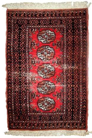 Handmade vintage Pakistani Lahore distressed rug 2.4' x