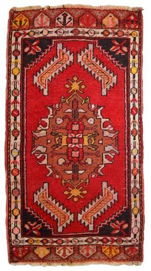 Handmade vintage Turkish Yastik rug 1.6' x 3.1' (50cm x