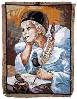 Handmade vintage French tapestry Piero 1.3' x 1.8'