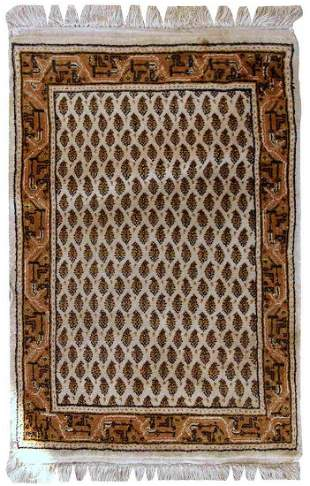 Handmade vintage Indo-Seraband rug 1.9' X 2.9' (60cm x