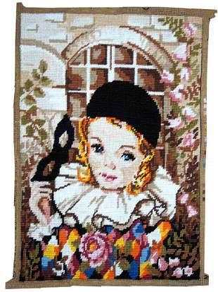Handmade vintage French tapestry 1' x 1.3' (31cm x