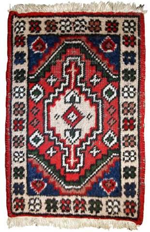 Handmade vintage Persian Hamadan rug 1.3' x 1.9' (40cm