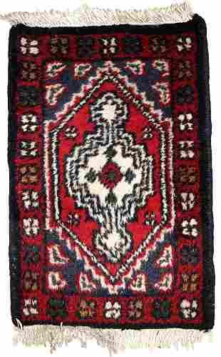 Handmade vintage Persian Hamadan rug 1.2' x 1.8' (38cm