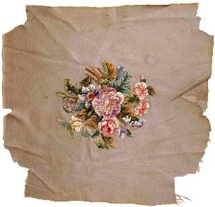 Handmade Vintage English embroidery 2' x 2.2' (62cm x
