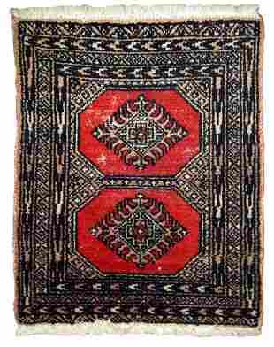 Handmade vintage Pakistani Lahore distressed rug 1.4' x
