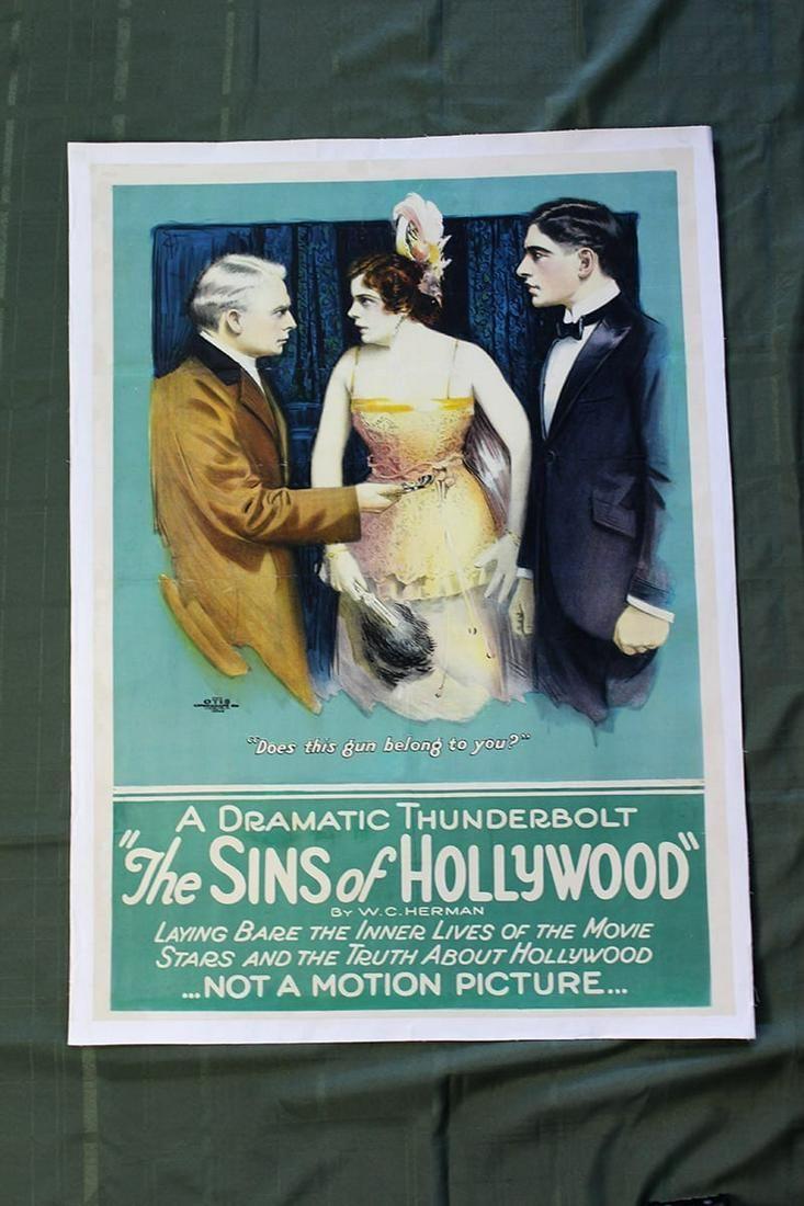 """The Sins of Hollywood"" W.C. Herman (1920) 1 Sheet"