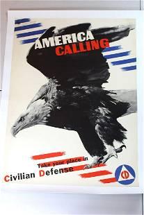 "America Calling (1932) 30"" x 40"" US Civilian Defense"