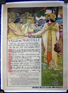 "Ville De Marseilles (1899) 38"" x 59"" French Advertising"
