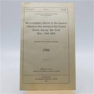 Memorandum relative to the General Officers in the