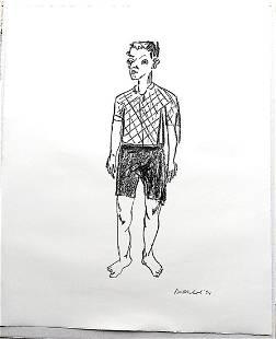 Stefan Balkenhol Lithograph on White Paper Standing Man