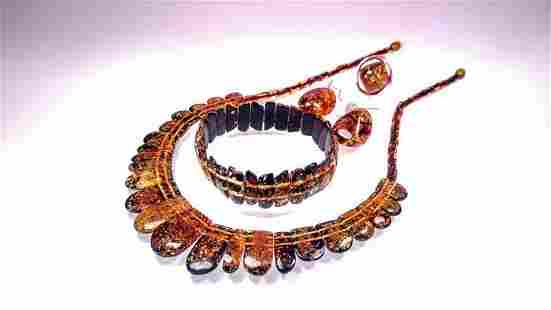 Silver, Green Baltic Amber - Bracelet, Necklace, Ring,