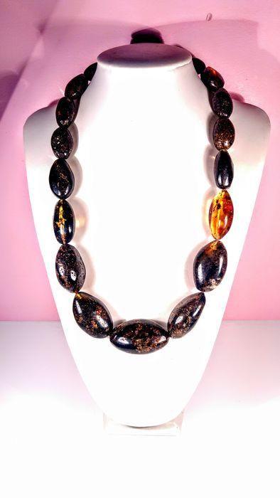 Dark colour Baltic Amber - Necklace
