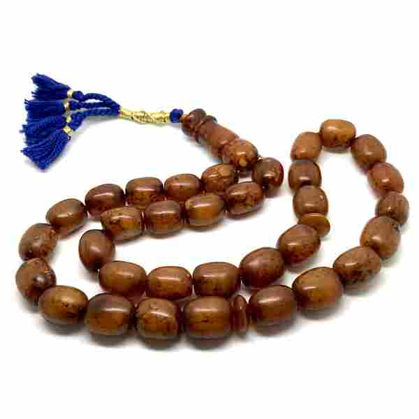 Antique Amber Tesbih made from Barrel shaped Amber