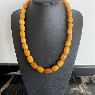 Magnificent Unique Vintage Amber Necklace made from