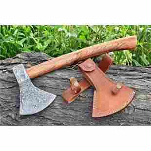 Tomahawk hatchet spike damascus steel axe hunting wood