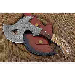 Tomahawk everyday carry damascus steel axe wood chopper